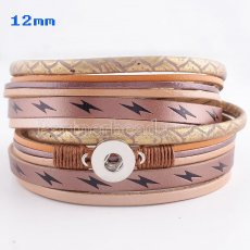 Partnerbeads 40cm 1 snaps button brown leather bracelets fit 12mm snaps KS0624-S