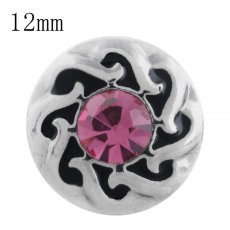 12MM design snap with pink Rhinestone KS5194-S interchangeable snaps jewelry