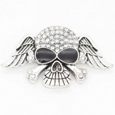 20MM skull snap sliver Plated With rhinestones KC6697 snaps jewelry