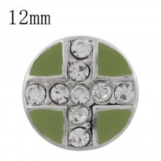 12MM cross sliver Plated with rhinestone and green enamel KS6331-S Diameter