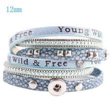 40cm 1 snap button pu leather bracelets fit 12mm snaps with light blue leather and charm KS0603-S