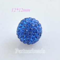 12 * 12mm Saphir Strass Perlen