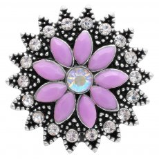 20MM flower snap with purple rhinestones KC6956 snaps jewelry