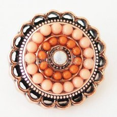20MM Round snap Antique gold Plated with rhinestone and orange small beads KB6394 snaps jewelry