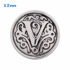 12mm V Antique snaps Silver Plated KS5023-S snap jewelry