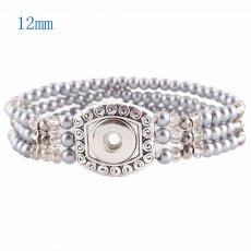 1 buttons snaps silver plated with Pearls and small beads bracelet KS0923-S fit 12MM snaps chunks