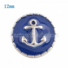 12MM Anchor snap Silver Plated with blue Enamel KS9638-S snaps jewelry