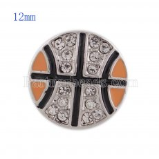 12MM Basketball snap with white Rhinestone and orange Enamel KS5149-S interchangeable snaps jewelry