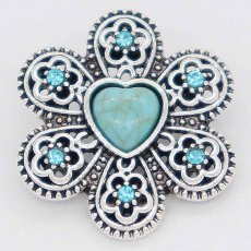 20MM flower snap Silver Plated with blue Rhinestone and Turquoise KC6865 snaps jewelry