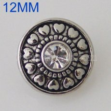 12MM Roud snap Antique Silver Plated with rhinestone KB5535-S snaps jewelry