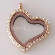 30MM Heart Stainless steel floating charm locket can open