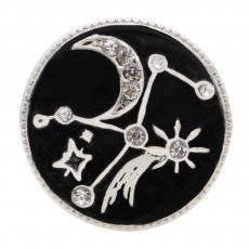 20MM star and moon sliver Plated with  rhinestone and black enamel  KC6565 snaps jewelry