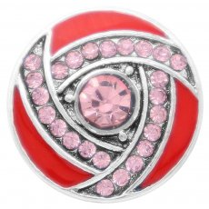 20MM snap Silver Plated with  red Rhinestone enamel KC7817 snaps jewelry