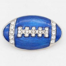 20MM Rugby with blue Francs snap sliver Plated with rhinestones KC6670 snaps jewelry
