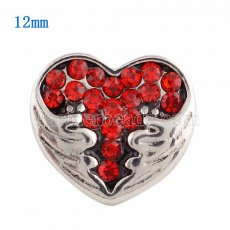 12MM Loveheart snap Silver Plated with red Rhinestone KS9630-S snaps jewelry
