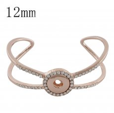 Snap rose gold copper bracelet with rhinestone KS1161-S fit 12mm snaps chunks
