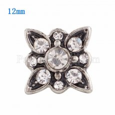 12MM snap Silver Plated with  white Rhinestone KS9628-S snaps jewelry