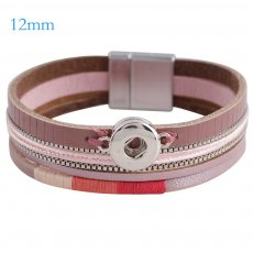 Partnerbeads 7.8 inch 1 snap button pink leather bracelets fit 12mm snaps KS0646-S
