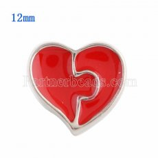 12MM Loveheart snap Silver Plated with red Enamel KS9633-S snaps jewelry