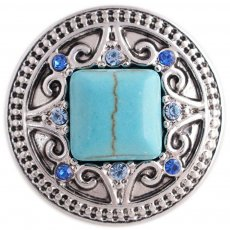 20MM round snap silver Antique plated with rhinestone and  green Turquoise KC5371 snaps jewelry