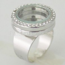ALLOY Ring adjustable size with 20mm floating locket with Rhinestone