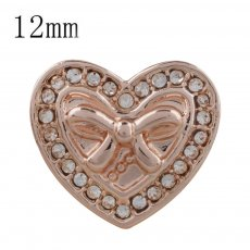 12MM heart Rose Gold Plated with white rhinestone KS5231-S snaps jewelry
