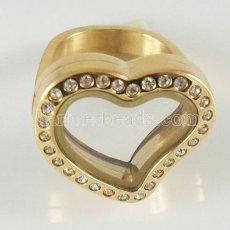 Stainless Steel RING  Mix6-10# size  with Dia 20mm  Heart floating charm locket gold color