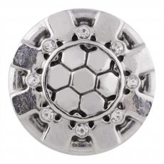 20MM football snap silver plated with white Rhinestone KC5498 snaps jewelry