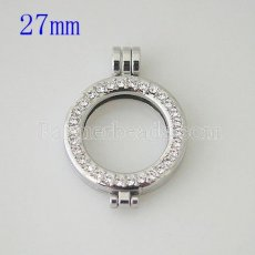 25MM Alloy coin locket pendant with rhinestone