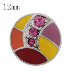 12MM design snap with rose Rhinestone and colorful Enamel KS5185-S interchangeable snaps jewelry
