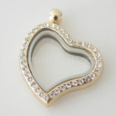 Golden Heart floating locket with rhinestone