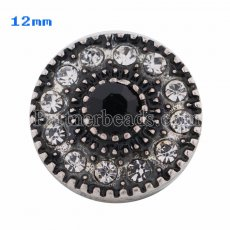 12mm Round snaps Antique Silver Plated with white Rhinestone KS8013-S snap jewelry