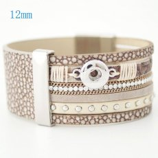 7.59inch PU leather bracelets fit 12MM snaps chunks