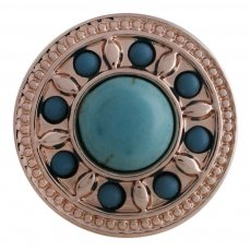 20MM round snap Rose Gold Plated with green Turquoise stone KC5627 snaps jewelry