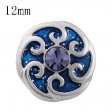 12MM design snap with purple Rhinestone and blue Enamel KS5202-S interchangeable snaps jewelry
