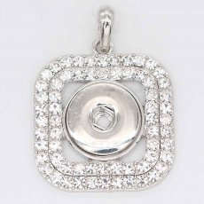 snap sliver Pendant with Rhinestone fit 20MM snaps style jewelry KC0457