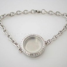 Stainless steel floating charm locket bracelets can open