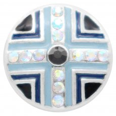 20MM blue round snap silver Plated with  Rhinestones KC7845 snaps jewerly