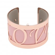 Copper Bangle with real leather Pink/gray double side TA7035