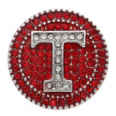 20MM team painting red Rhinestone outline KC7723 interchangeable snaps jewelry
