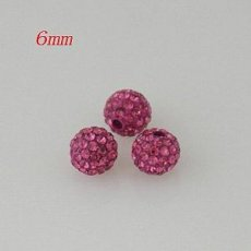 6 * 6mm Rose Strass Perlen