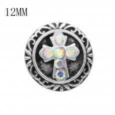 12mm cross silver plated with colorful Rhinestone KS6396-S snaps jewelry