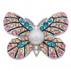 20MM Butterfly snap Silver Plated with orange rhinestone and pearl KC8004 snaps jewelry
