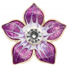 20MM Flowers snap gold Plated with  rhinestone and purple enamel KC6968 snaps jewelry