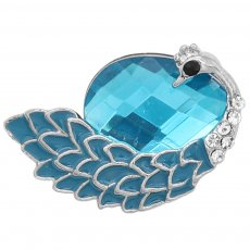 20MM Peacock design snap silver Plated with Light blue rhinestone KC6993 snaps jewelry