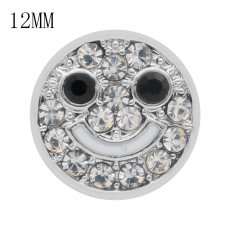 Smile12MM snap White rhinestones and black rhinestones  KS7030-S interchangable snaps jewelry