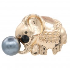 20MM design Elephant rose gold snap with Black rhinestone and pearls KC8027 snaps jewelry