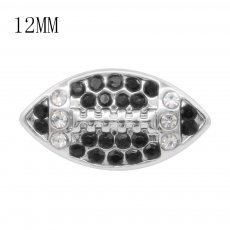 Rugby 12MM snap With Black and white Rhinestone KS7054-S interchangable snaps jewelry