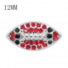 Rugby 12MM snap With Black and red Rhinestone KS7053-S interchangable snaps jewelry