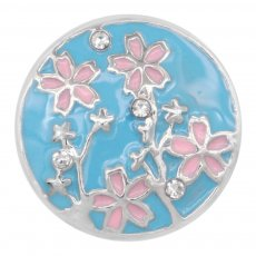 20MM Flowers snap Plated with white rhinestone and enamel KC8030 snaps jewelry